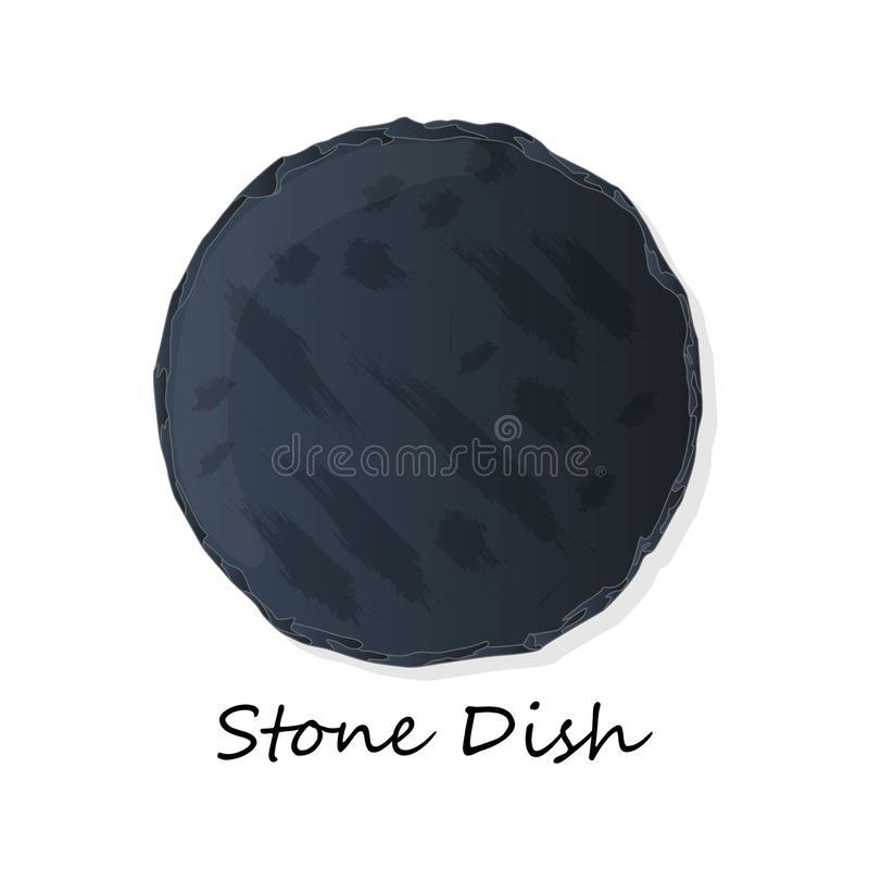 Dark Grey Black Slate Board for Dishes on White Background. Isolated royalty free illustration
