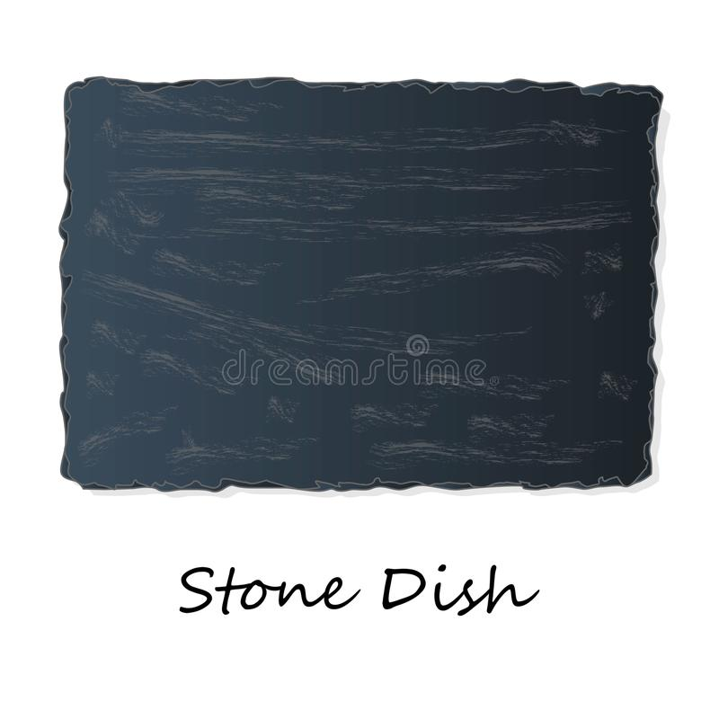 Dark Grey Black Slate Board for Dishes on White Background. Isolated vector illustration