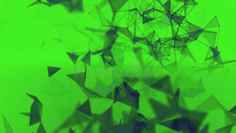 Dark grey cloud of triangle shapes moving chaotically on green background. Animation. Many small geometric figures stock illustration