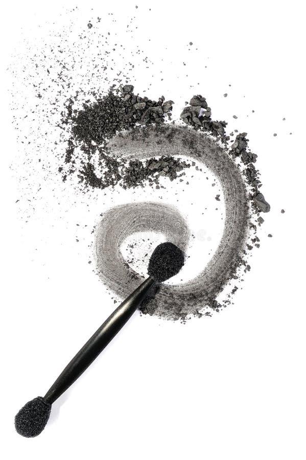 Dark grey eyeshadow. Isolated on white background royalty free stock photography