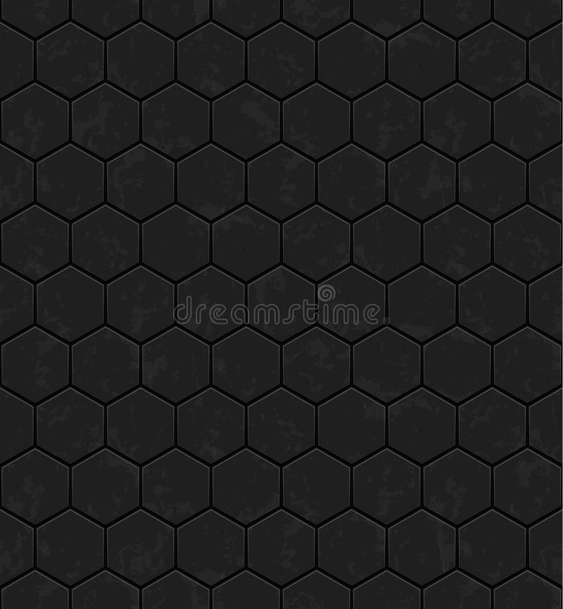 Dark grey hexagons of metal, stone. Seamless vector texture. Technology seamless pattern. royalty free illustration
