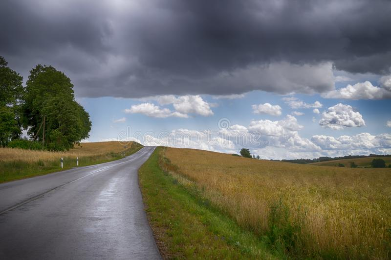 Country road running through open fields royalty free stock photo