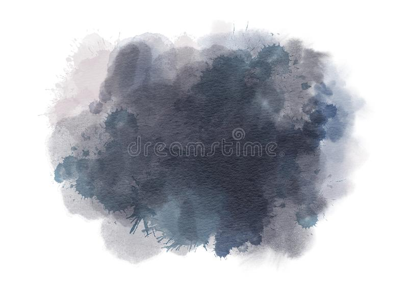 Dark grey Watercolor spot. Isolated on a white background. Hand-drawn illustration royalty free illustration