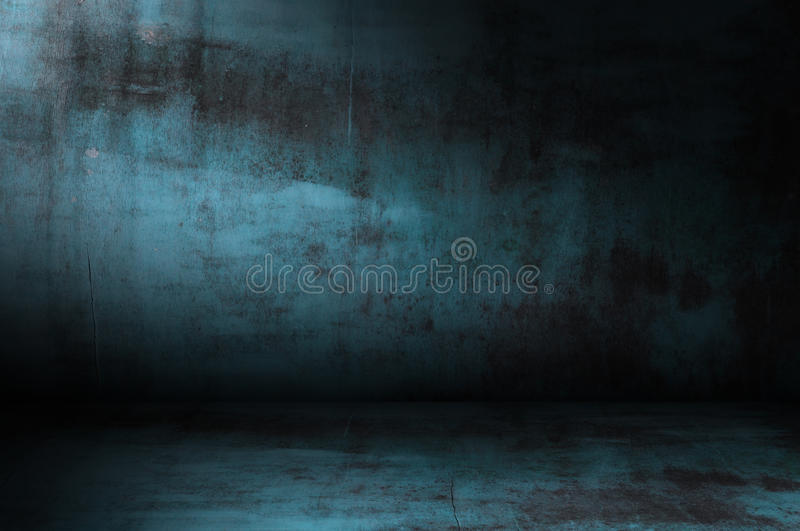 Dark grunge blue room royalty free stock images