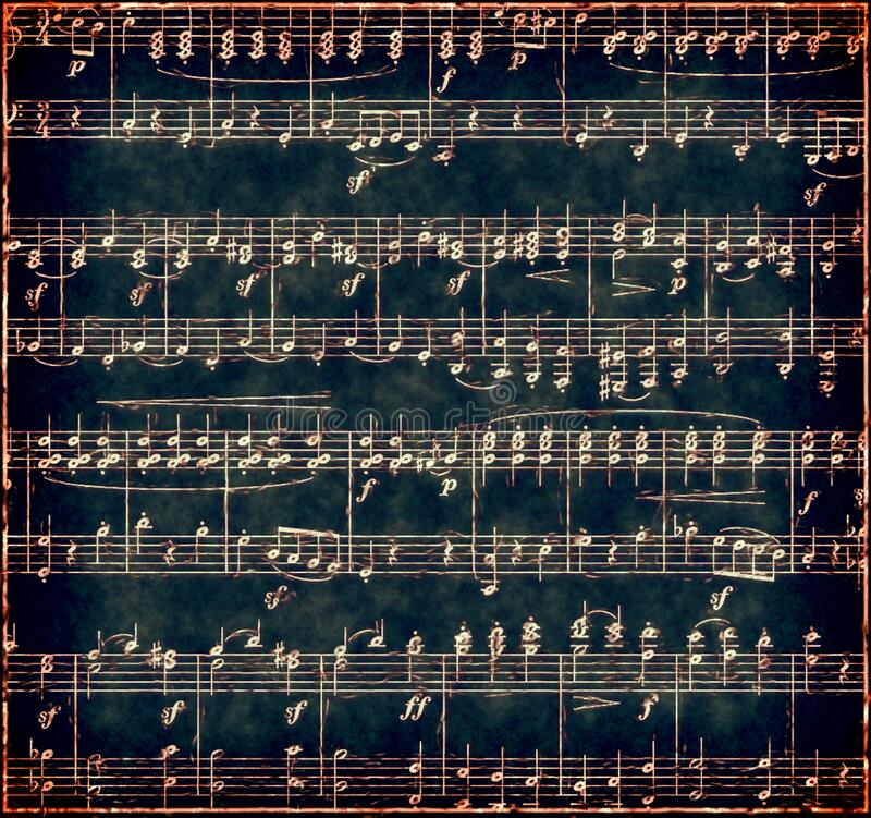 Dark  Grunge Music Background. Dark  vintage textured sheet music with white musical notes.   Treble clef and bass clef notation royalty free stock images