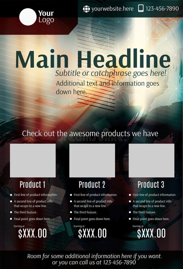 Dark grunge product flyer or poster template. Dark grunge and blurry product flyer template design stock illustration