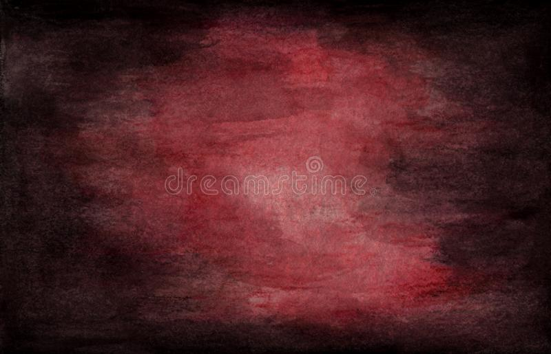 Dark grunge textured. Red wine abstract watercolor texture background stock illustration