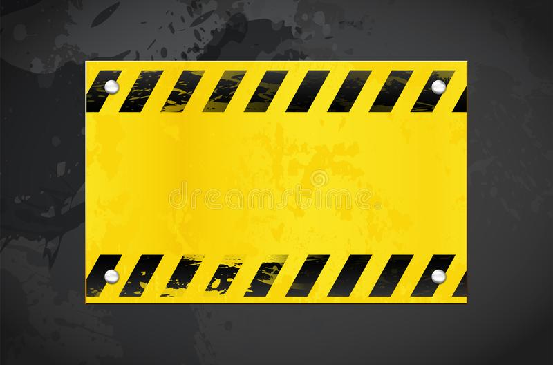 Dark grungy background and yellow warning banner with copy space. Dark grungy background and yellow warning metal banner with place for your text - vector royalty free illustration