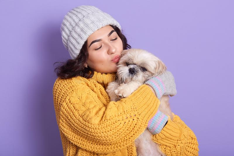 Dark haired girl wearing warm yellow sweater and cap kissing her little dog, blithesome european woman expressing love to her royalty free stock photos
