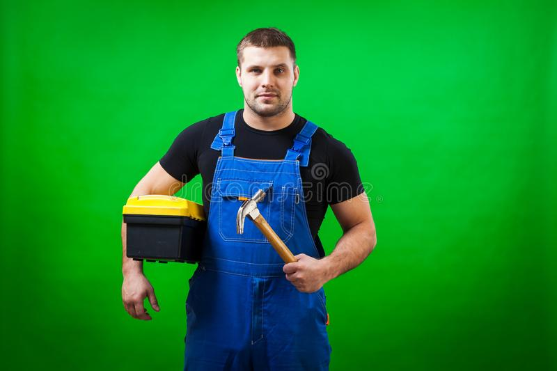 Dark-haired male construction royalty free stock image