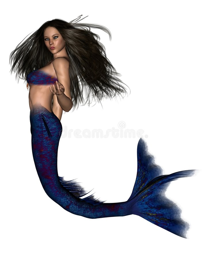 Dark Haired Mermaid - 2 stock illustration