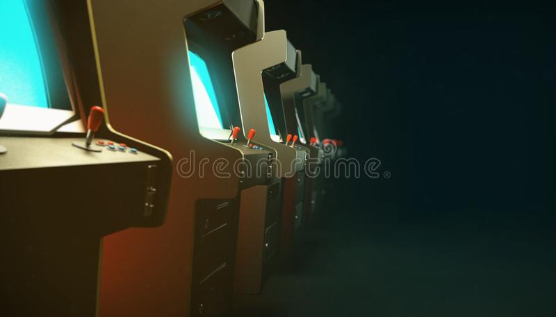 Dark hall with a row of vintage arcade machine cabinets screens glow blue and depth of field 3d royalty free stock image