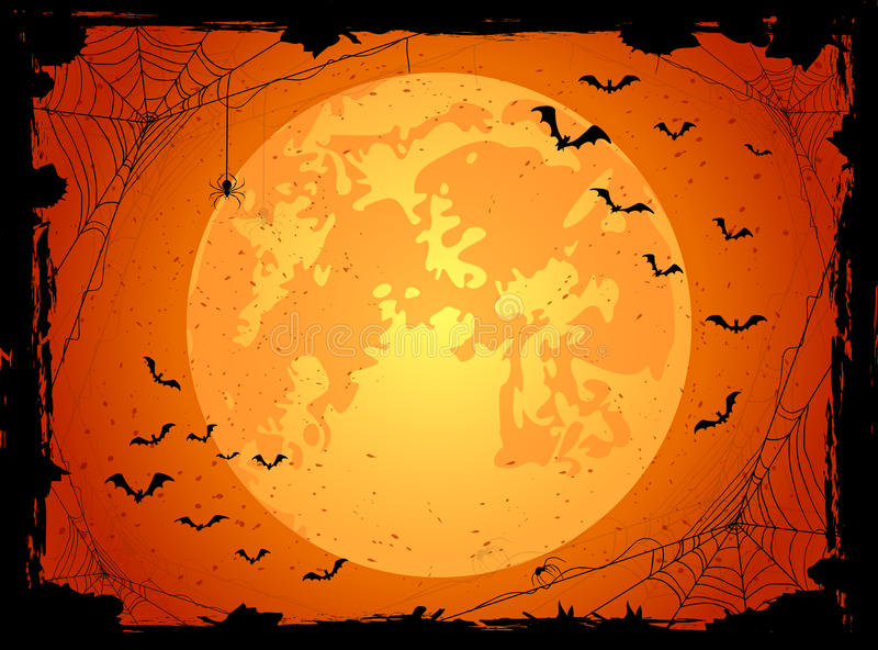 Dark Halloween background with bats royalty free illustration