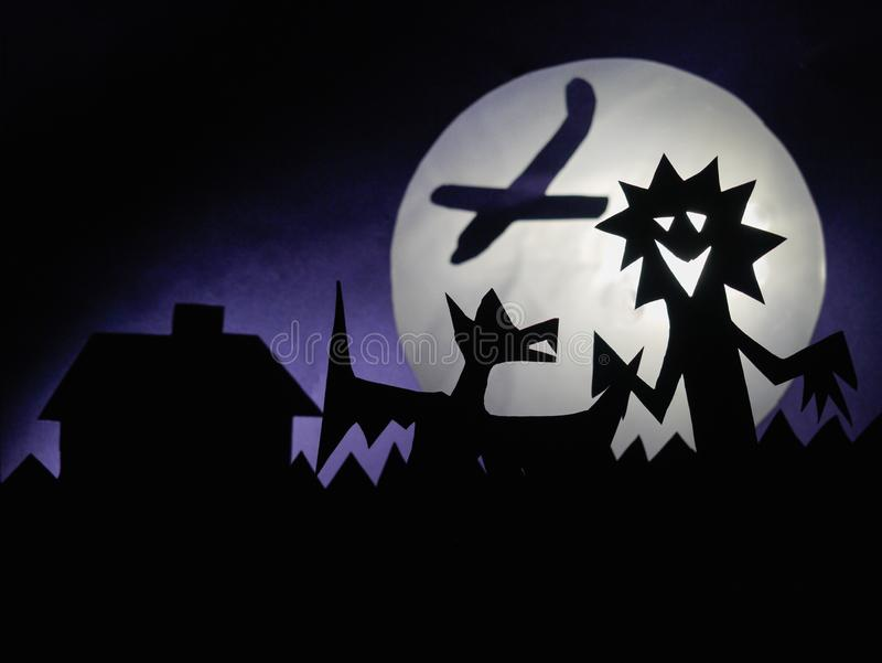 Dark Halloween background with scary creatures, Dragon, airplane, funny monster, full moon stock photos