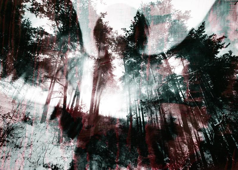 Dark Halloween Scratched Grunge Texture Background. With creature shadow over the spooky forest royalty free stock photo