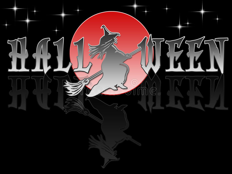 Dark Halloween Witch and Moon stock illustration