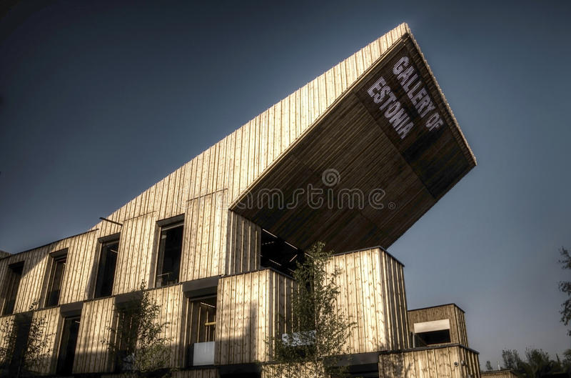 Dark HDR photo of the large Estonian pavilion at the Milan EXPO 2015 stock photography