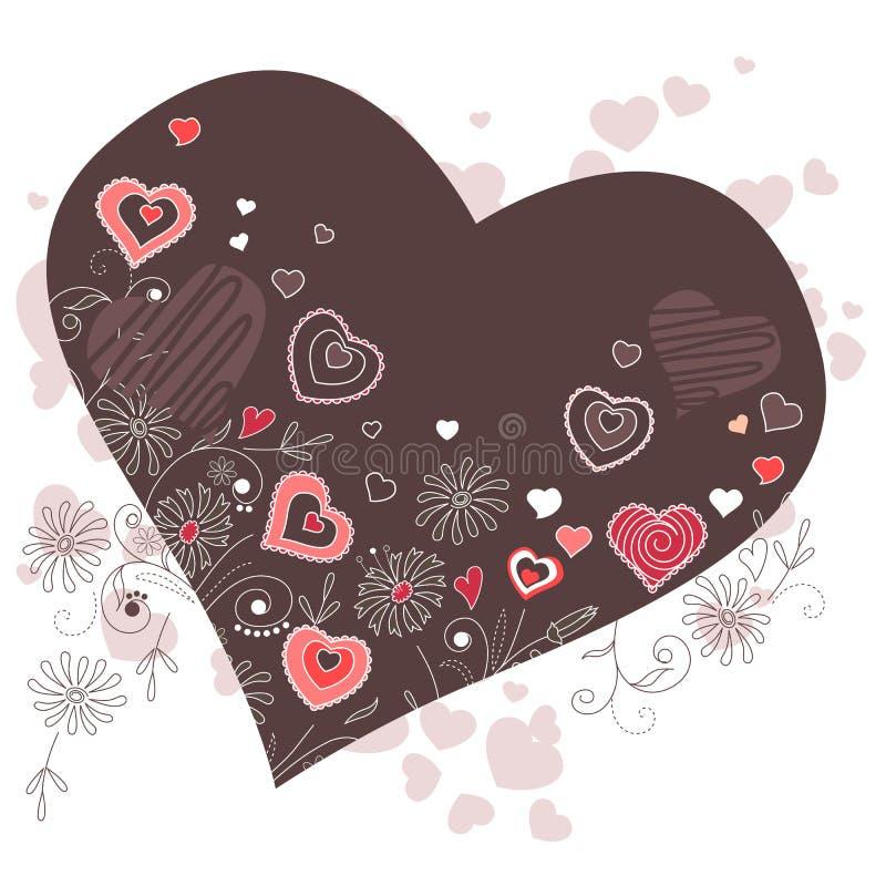Dark heart-shaped frame vector illustration