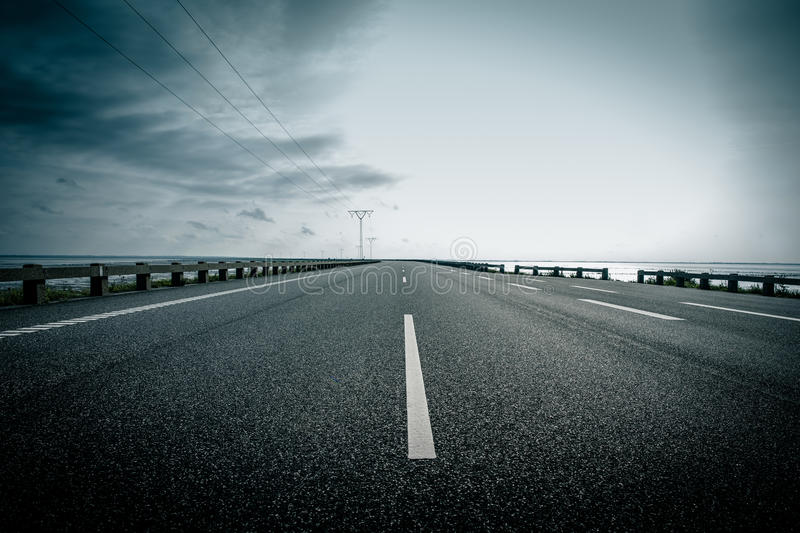 Dark highway stock photography