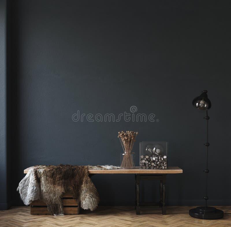 Dark Home Interior Ethnic Style Living Room Stock Illustration Illustration Of Empty House 177489439