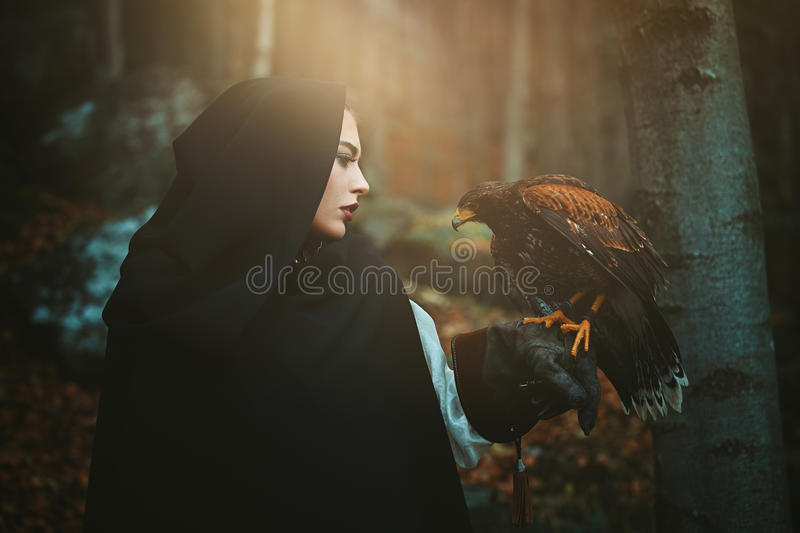 Dark hooded woman and hawk stock image