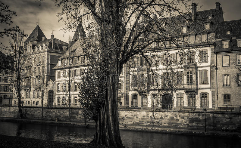 Dark house infested by ghost. Panoramic view of Strasbourg stock image