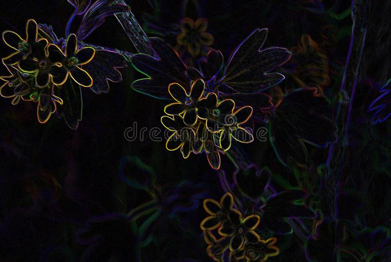 Dark illustration with colorful outline stock images
