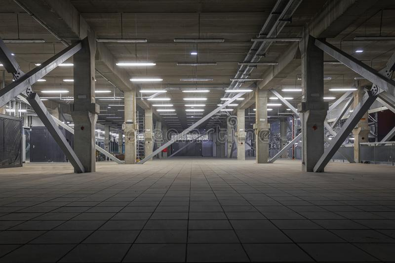 Dark industrial interior at underground royalty free stock photos