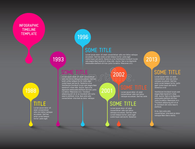 Dark Infographic timeline report template with bubbles vector illustration