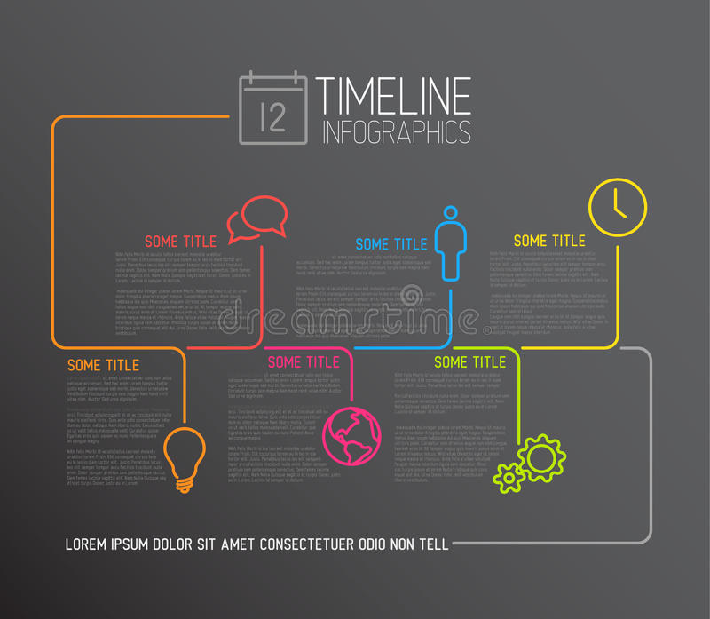 Dark Infographic timeline report template with lines vector illustration