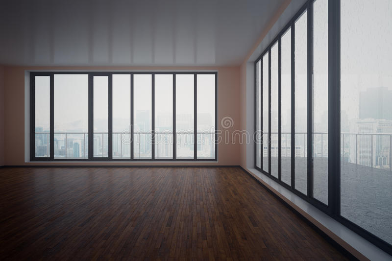 Dark interior. Dark unfurnished interior with wooden floor, concrete walls and panoramic windows with city view and daylight. 3D Rendering stock illustration