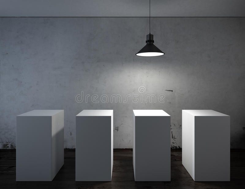 Dark interior with white stands royalty free stock image