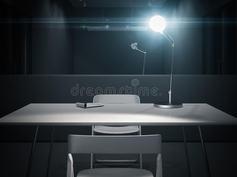 Dark interrogation room with switched-on lamp, 3d rendering. Dark interrogation room with switched-on lamp and big mirror, 3d rendering stock photos