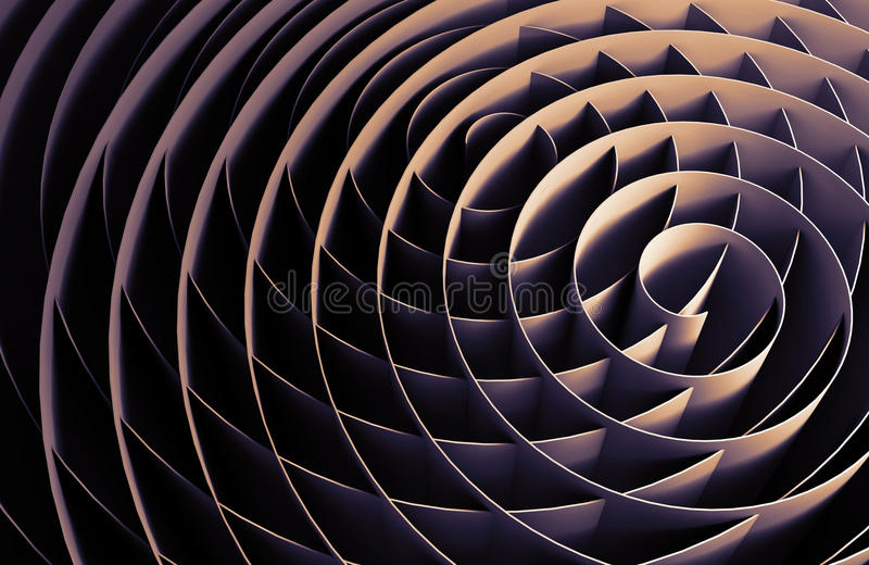 Dark intersected 3d spirals, abstract digital art vector illustration