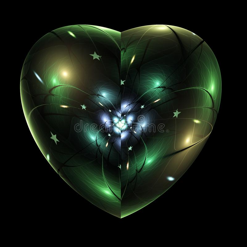 Dark isolated fractal heart with stars. Digital artwork for creative graphic design stock illustration