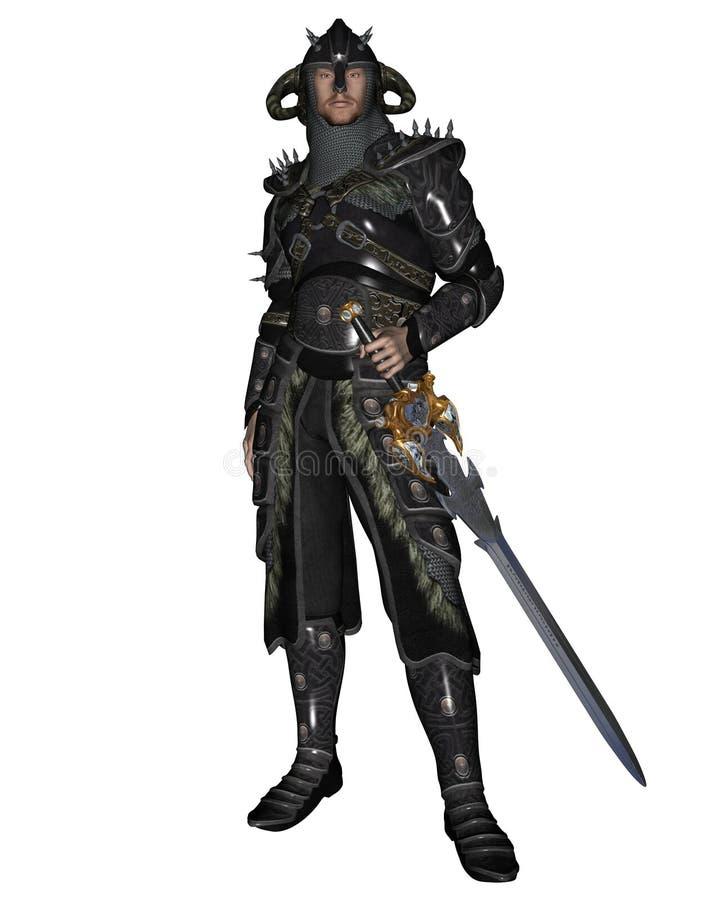 Dark Knight in Shining Armour. Digital render of a Dark Knight in shining armour royalty free illustration