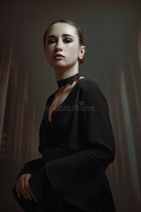 Dark Lady. Horror movie styled female portrait. With castle interior stock photos