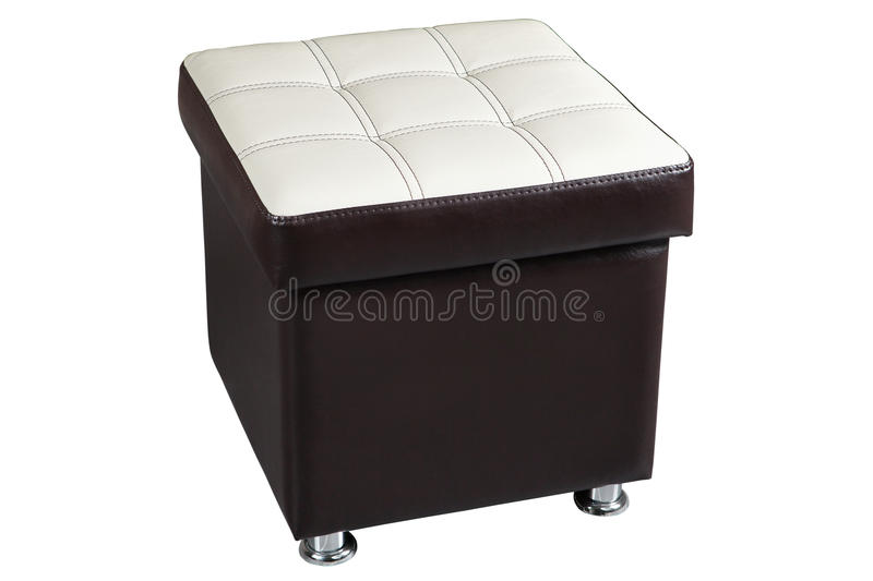 Dark leatherette ottoman chair seat with white top. stock photography