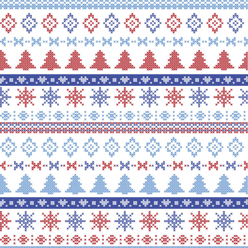 Dark and light blue and red Christmas Nordic pattern with snowflakes, trees , xmas trees and decorative ornaments in scandinavian. Knitted cross stitch vector illustration