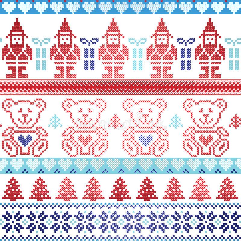 Dark and light blue , red Scandinavian inspired Nordic xmas seamless pattern with elf, stars, teddy bears, snow,christmas trees, royalty free illustration