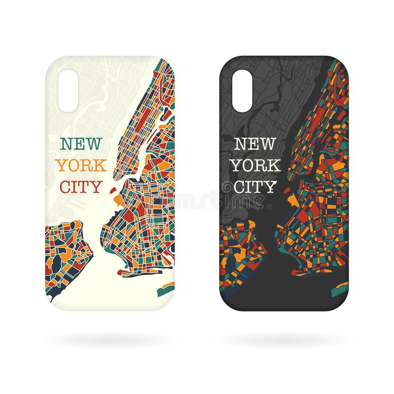 Phone cases NY map vector illustration