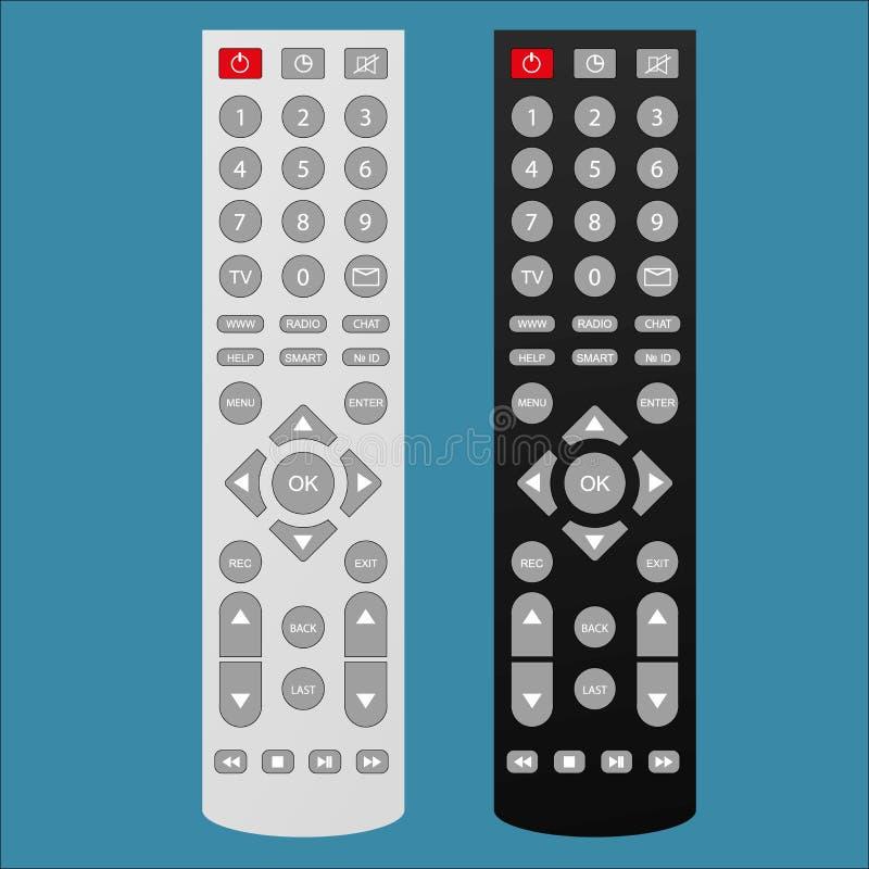 Dark and light Remote TV Control. On white background, vector illustration stock illustration