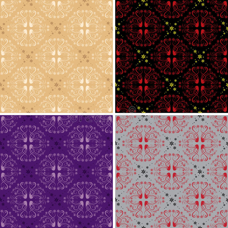 Dark and light seamless floral patterns - vector royalty free illustration