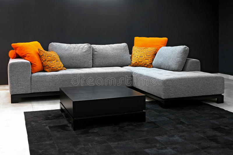 Download Dark living room stock image. Image of grey, living, furniture - 13394681