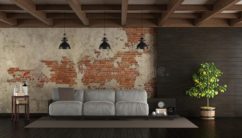Dark living room in rustic style. With pallet sofa, brick wall and wooden paneling- 3d rendering vector illustration