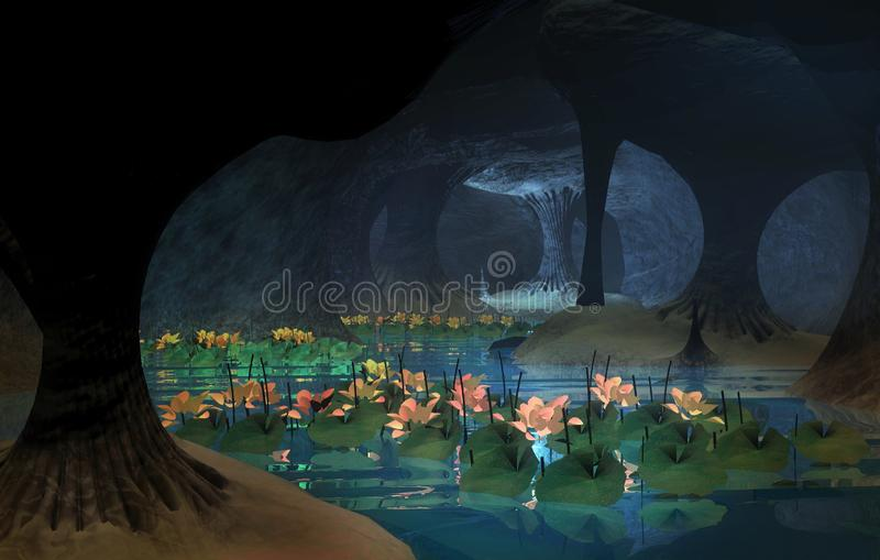 Mysterious lotus cavern. Dark and long mysterious cavern. lotus flowers blooming in abundance vector illustration