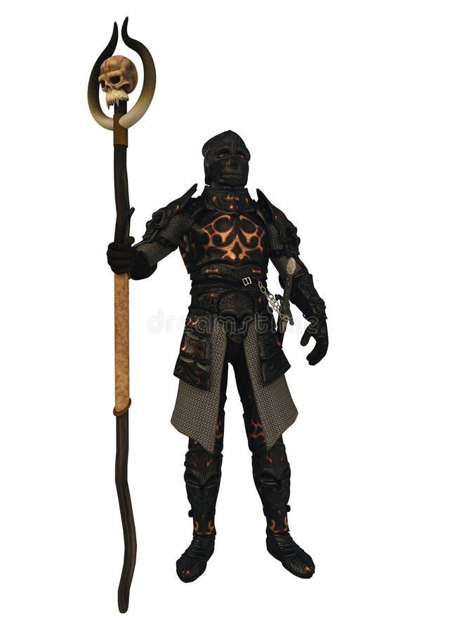 Dark Lord in Black Armour. Evil dark knight wearing black armour with a skull shaped helmet, 3d digitally rendered illustration royalty free illustration