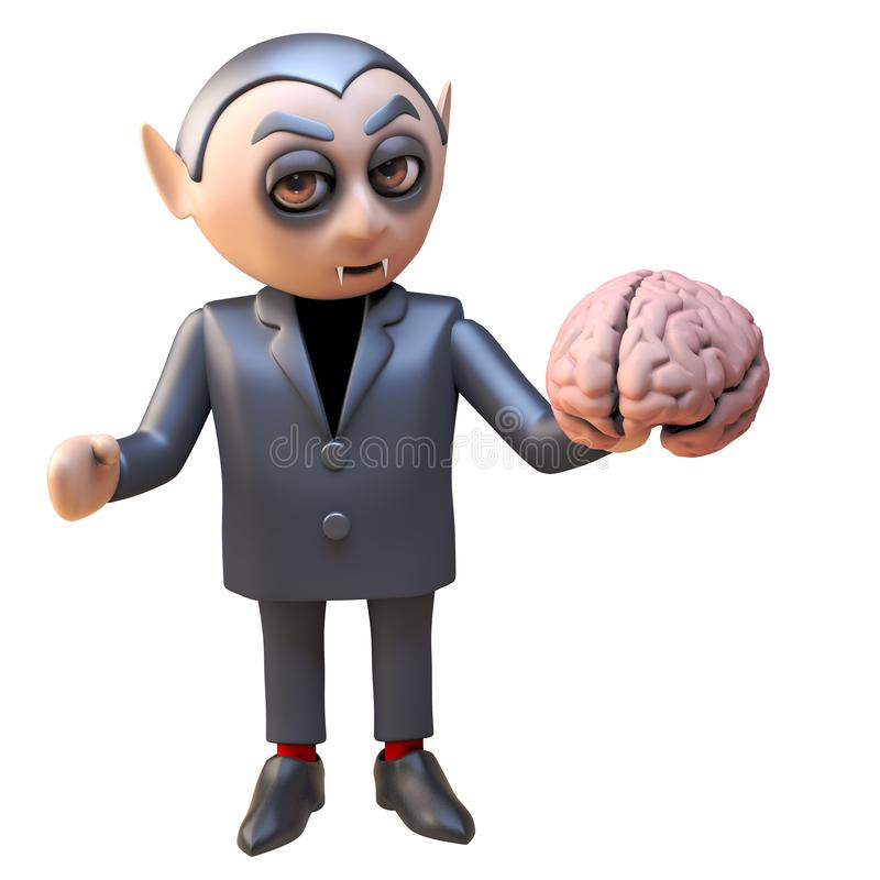Dark lord vampire dracula 3d character holding a human brain, 3d illustration royalty free illustration