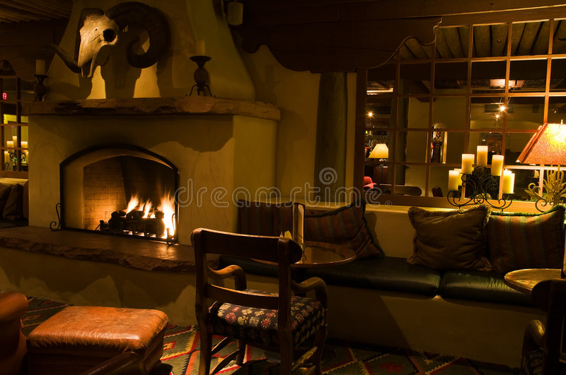 Dark lounge and cozy fireplace