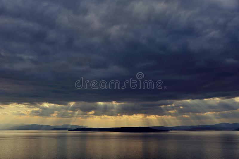 Sunset after storm above the sea in far east stock photography